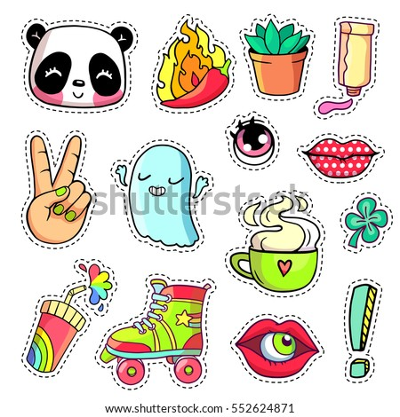 Cool stickers set in 80s-90s pop art comic style. Patch badges and pins with cartoon characters, food and things. Vector crazy doodles with panda, peace hand, roller skate etc. Part 10