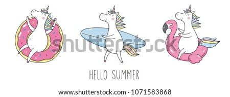 Cool summer stickers or patches with cute unicorn