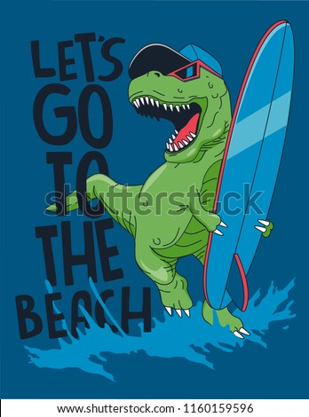 cool surfer dinosaur vector design with surfboard for t shirt