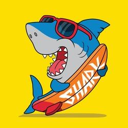Cool Surfer shark. Shirt print.