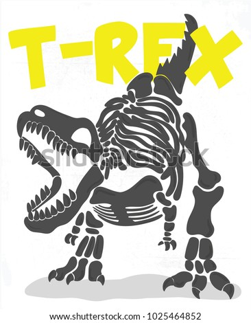 cool t rex fossil illustration
