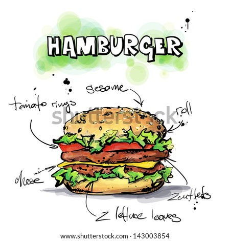 Cool tasty hamburger Sketch & watercolor style Vector illustration