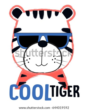 cool tiger illustration vector