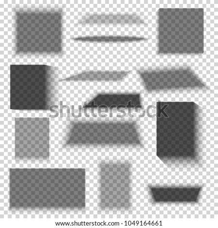 Cool transparent paper and objects box square shadows isolated. Wall and floor drop shadow vector collection. Empty transparent shade, illustration of dark shadow from box