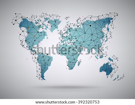 Antecedentes mundial mapa vectorial descargue grficos y vectores cool vector abstract world map background stylized world map illustration with wireframe polygonal mesh elements gumiabroncs Image collections