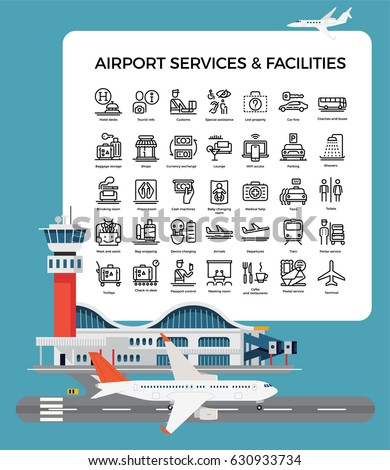 Cool vector airport terminal design set with linear airport facilities icons. Airway travel concept layout. Ideal for leaflets, banners, posters and web design