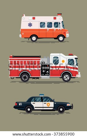 Cool vector ambulance emergency paramedic car, police department vehicle and fire engine truck in flat design icons, isolated. City emergency and public safety vehicles