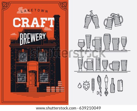 Cool vector beer themed poster or banner design on local 'Craft Brewery'. Microbrewery and craft beer making graphic design elements. Ideal for bar, pub or restaurant menu design