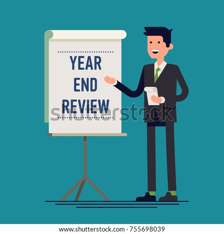 Cool vector business company and corporate Year End Review concept illustration with businessman standing next to presentation board