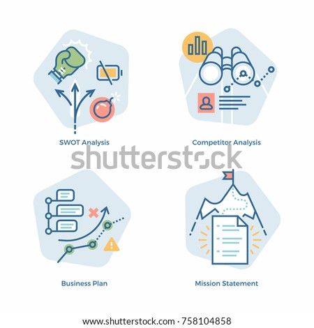 Cool vector Business Plan themed design elements in light minimalistic color scheme. SWOT analysis, Competitor Analysis, Business Plan and Mission Statement illustrations