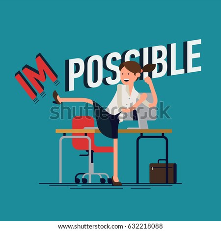 Cool vector businesswoman flat concept design character in high kick pose fighting making impossible possible. Metaphoric illustration on achievements made possible with confident young adult woman