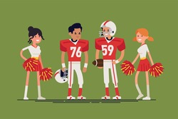 Cool vector character design on american football players and cheerleaders standing. Professional american football team members line up. Sports career professionals