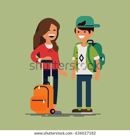 Cool vector character illustration on kids ready for school. Small cute siblings with school backpacks. Cheerful primary school boy and girl smiling. Confident boy and girl friends portrait