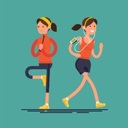 Cool vector character on woman doing yoga and jogging. Fitness activities and sport flat design female character. Healthy lifestyle