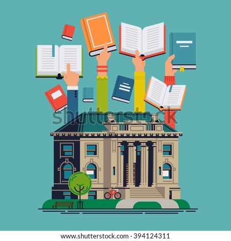 Cool vector concept design on public library with library building and readers hands holding books. Book readers modern concept illustration. Background, banner or poster template on reading