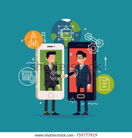 Cool vector concept illustration on peer to peer lending in business and industry with abstract businessmen interacting with each other through mobile application