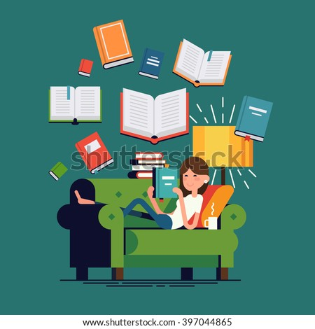 Cool vector concept illustration on reading with woman reading book lying on couch and flying books on background. Young adult girl having a rest with good book. Girl enjoying good book on couch