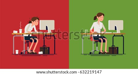 Cool vector concept layout on stressed out and confident woman at work. Stressful work | Stress less work. Modern flat design illustration on tired worried woman working hard and calm lady doing job