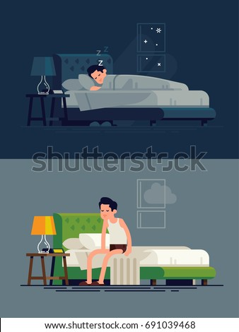 Cool vector concept on man sleeping in his bed and waking up feeling sleepy. Man resting in his bedroom and sitting feeling tired on his bed after getting up