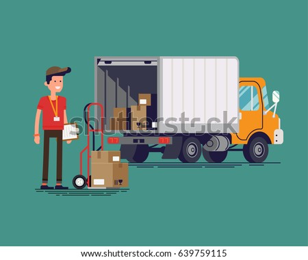 Cool vector delivery or shipping flat concept design featuring light duty trailer truck with open tail gate with goods inside and courier male character with loaded delivery cart