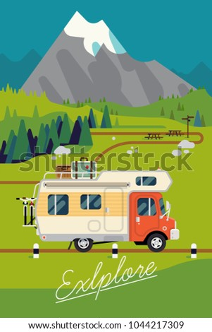 Cool vector 'Explore' poster template with summer in mountains featuring camping caravan truck with bicycles and luggage riding scenic road