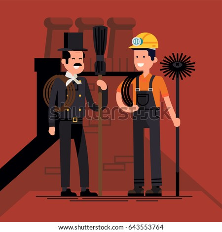 Cool vector flat character design on chimney sweep workers. Two chimney service workers standing wearing top hat, helmet with light, ropes, holding chimney brush and broom