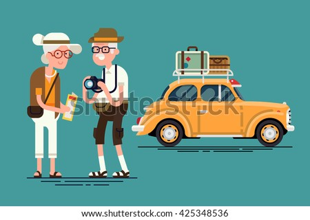 Cool vector flat character design on senior age travelers with vintage old car with luggage on top. Retired tourists couple ready to their road trip. Grandparents having summer holidays trip