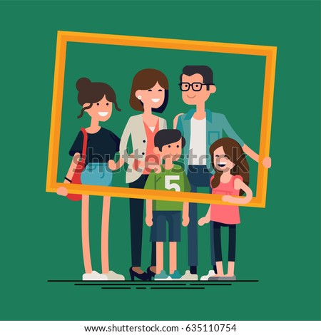 Cool vector flat design family portrait. Family members standing together holding large picture frame. Teenage girl, school age boy and small girl standing together. Happy family characters - Shutterstock ID 635110754