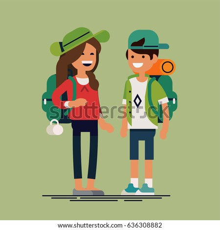 Cool vector flat design illustration on cheerful couple of kids wearing casual clothes, hats and camping backpacks. Little boy and girl characters standing with hiking backpacks. Hiking for kids