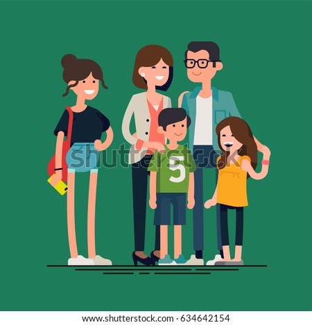 Cool vector flat design illustration on modern family. Parents standing with children. Mother, father, siblings. Teenage girl, school age boy, toddler girl standing together. Happy family characters