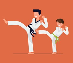 Cool vector flat design on young karate student with his teacher characters   Martial arts for kids   Karate class young student and master in action