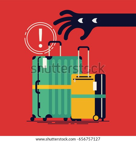Cool vector flat design public safety poster or banner template with thief hand trying to steal unattended belongings. Hand stealing luggage bags. Baggage theft prevention in touristic places