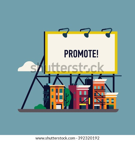 Cool vector flat giant advertisement billboard over small town. Large promotional banner with city street townhouses. Website banner template with urban landscape. City ad background for your business