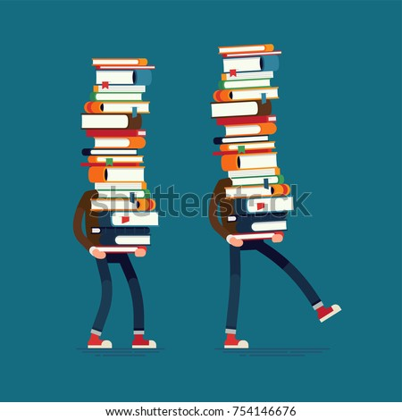 Cool vector flat illustration set on knowledge and education with man carrying large stack of books. Library, academic, school or university themed design element with student carrying books
