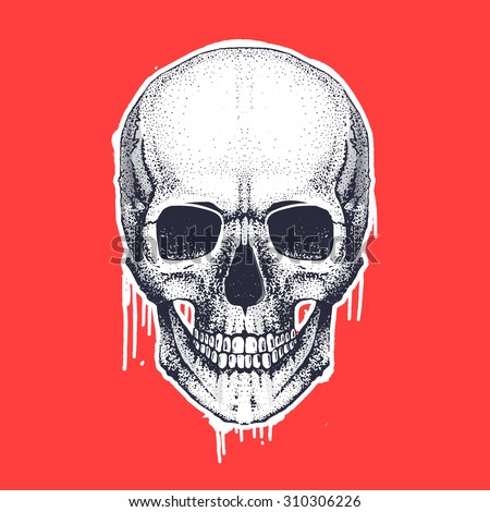 cool vector hand draw skull