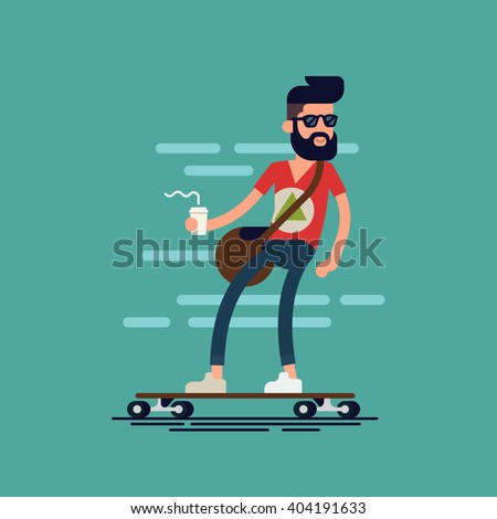 cool vector hipster man
