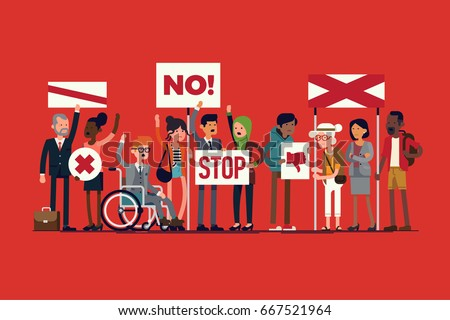 Cool vector illustration on various people on strike. Multicultural diverse group of protesters holding abstract signs of disagreement. Discontent people demonstration