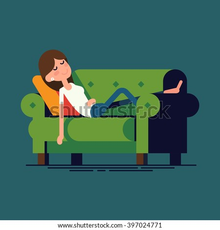 Cool vector illustration on woman character taking nap on couch. Adult girl napping. Relaxed woman sleeping or dreaming. Female person having a rest lying on couch at home, flat design, isolated