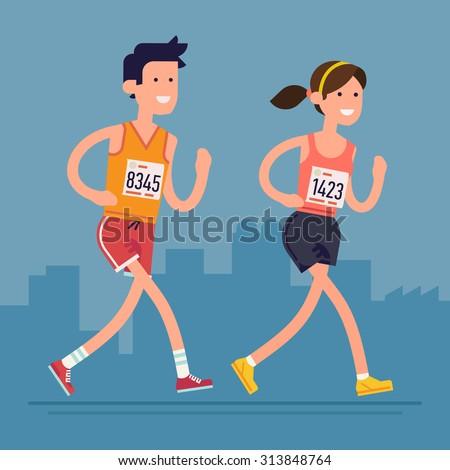 cool vector marathon road race