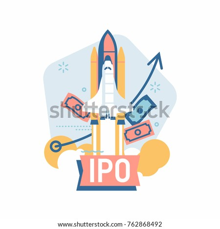 Cool vector minimalistic IPO or Initial Public Offering corporate stock themed illustration with finance themed elements and space shuttle taking off