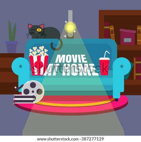 cool vector 'movie at home'