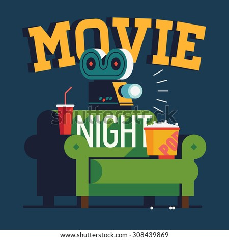 cool vector 'movie night' flat