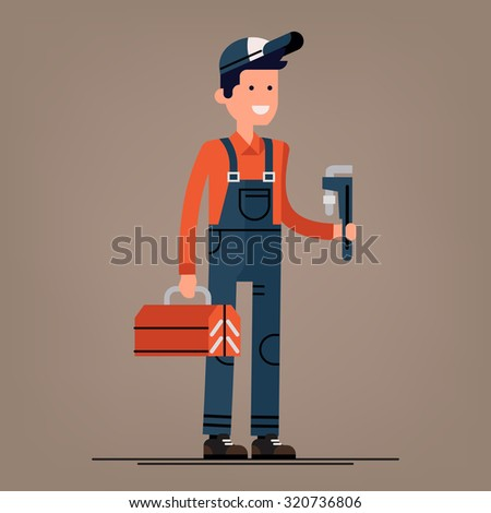 Cool vector plumber male character standing holding tool box and plumber wrench | Friendly smiling adult plumbing professional person ready for work, flat design isolated