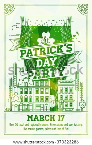 Cool vector poster on St. Patrick's Day Party. Saint patrick Invitation template in green shades with giant pint of green beer, town houses and lettering