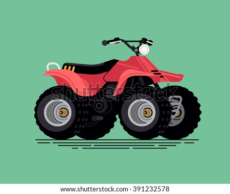 Cool vector quad bike. All terrain vehicle. Four wheeler. Quadricycle transportation flat design element isolated Stock photo ©