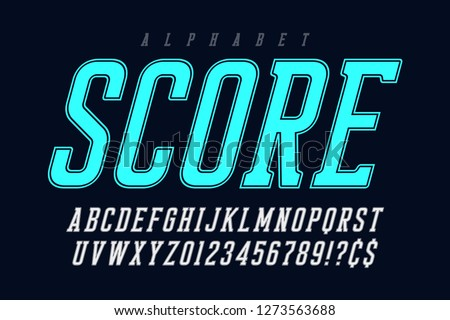 Cool vector retro design of alphabet, typeface, font, letters and numbers