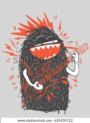Cool vector rock star monster sketch character.