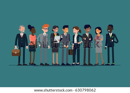 Cool vector set of business characters. International business team. Worldwide global corporate business people line-up. Large diverse group of office workers standing smiling