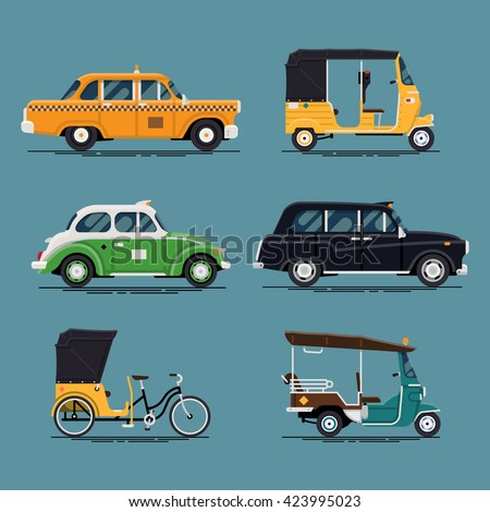 Shutterstock Cool vector set of world taxi cars and vehicles with yellow cab, hackney carriage, tuk-tuk, velotaxi, baby taxi auto rickshaw and more