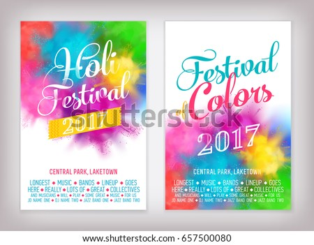 Cool vector Summer Festival background set with abstract colorful rainbow paint clouds. Poster, brochure, banner or flyer template design on 'Festival of Colors' and 'Holi Festival' with sample text
